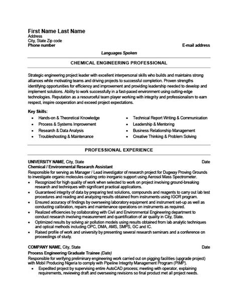 Resume Format For Chemical Engineer by Chemical Engineer Resume Template Premium Resume Sles Exle