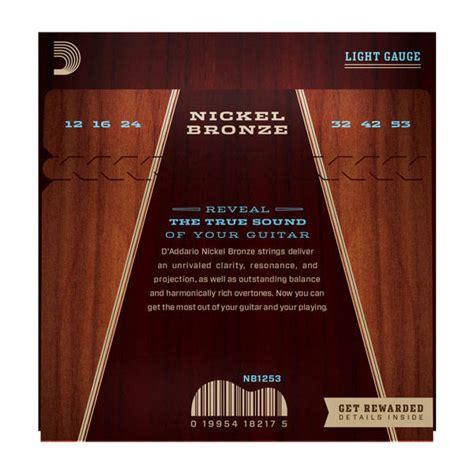 D Addario Nickel Bronze Acoustic Guitar Strings Light 12 D Addario Light Acoustic Guitar Strings