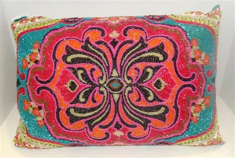 max studio home bohemian beaded designer throw pillow