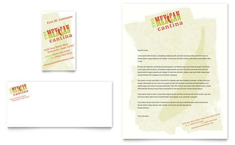 Restaurant Letterhead Templates Free by Mexican Restaurant Business Card Letterhead Template Design
