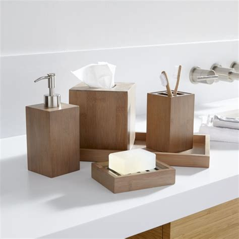 wood bathroom accessories sets dixon bamboo bath accessories crate and barrel