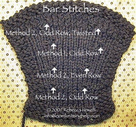 increase stitch knitting bar increase k1f b p1f b stitches