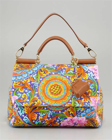 Dg Dolce And Gabbana Floral Canvas Satchel by Lyst Dolce Gabbana Miss Sicily Vibrant Canvas Print Bag