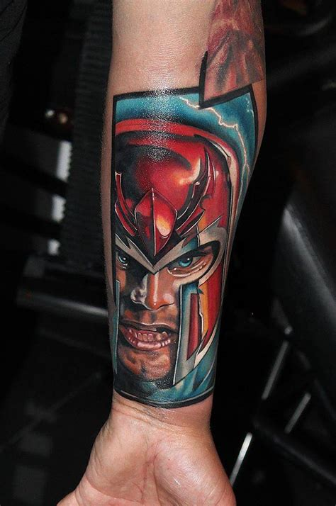 magneto tattoo realistic style s magneto s portrait on