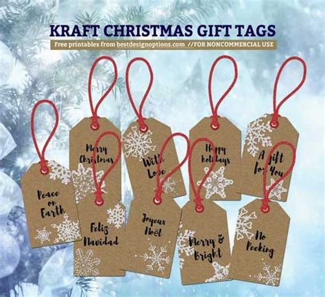 printable kraft paper tags printable christmas gift tags featuring kraft paper texture