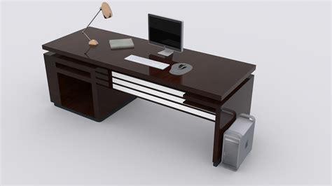 Low Computer Desk 3d Model Computer Desk Vr Ar Low Poly Max Fbx Cgtrader