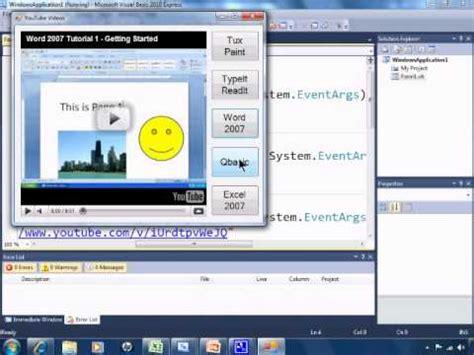 tutorial visual basic 2010 visual basic 2010 express tutorial 8 embedding and