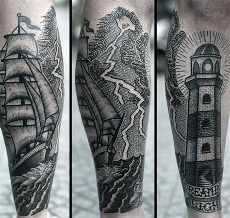 black sea tattoo school style black ink sea with ship and
