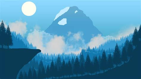 wallpaper desain datar pemandangan hutan
