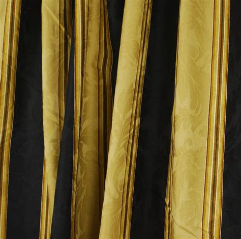 Black Gold Stripe Drapery Fabric Capulet Stripe Velvet