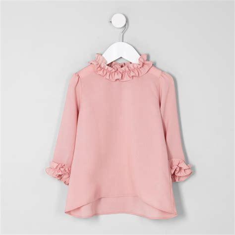 Ruffle Trim Sleeve Top mini pink ruffle trim sleeve top baby