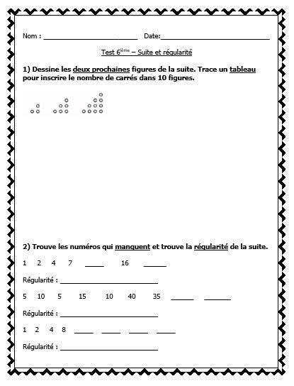 variables in pattern rules french math test patterning les suites et les