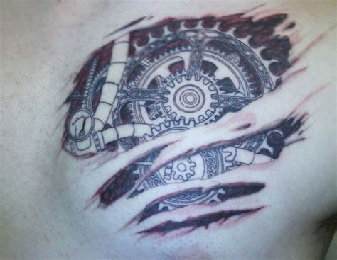gear tattoos designs gear 3d mechanical on chest tattooshunt