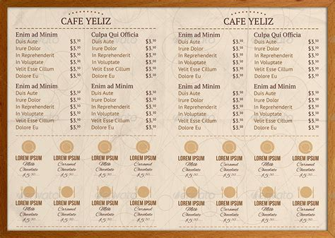 half fold menu template half fold coffee shop menu design by erseldondar