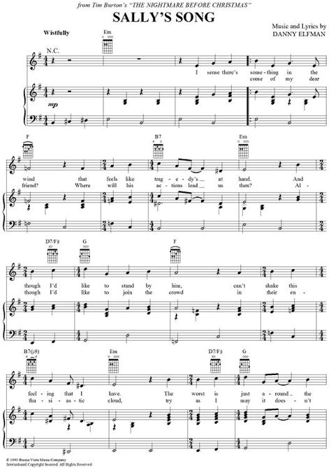 danny elfman piano sheet music pdf sally s song sheet music by danny elfman sheet music