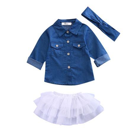 Shirt Set Toddler Baby Clothes Set Denim Tops Shirt Tutu