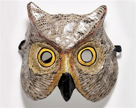 Mask With Paper - paper mache owl mask
