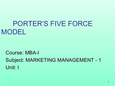 Mm Mba by Mba 1 Mm 1 U 4 1 Porter S Five Model