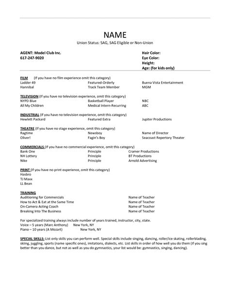 acting resume format template acting resume exle best template collection