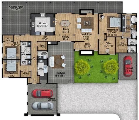 mid century modern house plan courtyard ly