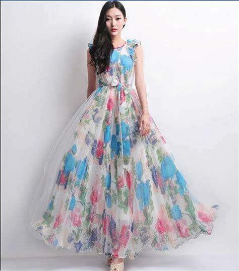 Maxi Flowbor Pink Ab white tulle blue floral print aline dress wedding by