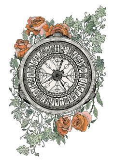 themes golden compass alethiometer from his dark materials trilogy ink