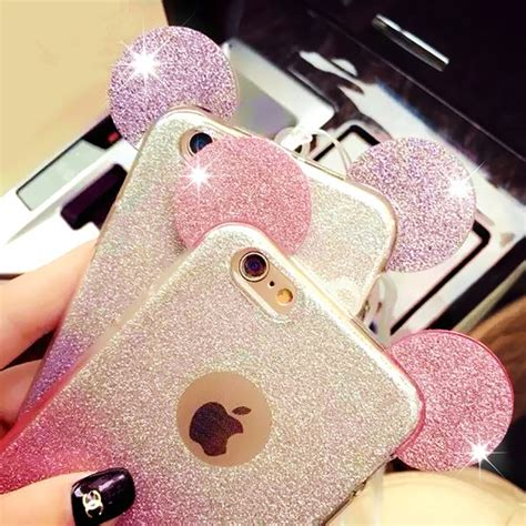 Mickey Bling Back Cover For Iphone 6 Plus 6s Plus gradient glitters bling phone cases for iphone 6 6s 6 plus mickey mouse ear phone