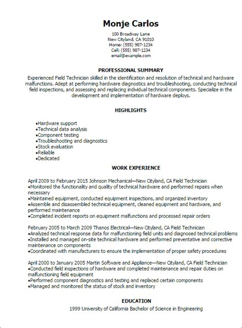 1 field technician resume templates try them now myperfectresume
