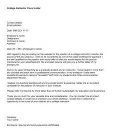 cover letter for college instructor college professor cover letter sle letter of
