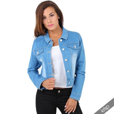 S Casual Regular Outdoor Jackets Denim Jackets With womens retro 80s classic denim jacket casual jean crop