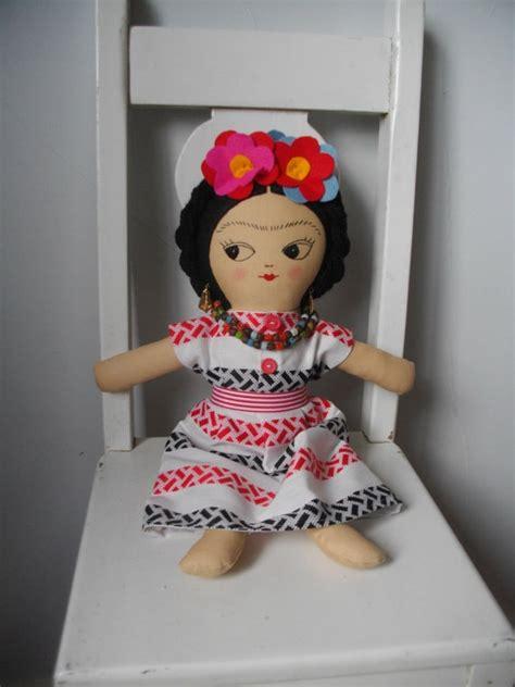 mexican rag doll tattoo frida kahlo doll handmade ragdoll ooak doll mexican