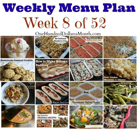 s weekly meal planner a 52 week menu planner with grocery list for planning your meals s cooking series volume 1 books weekly meal plan menu plan ideas week 8 of 52 one
