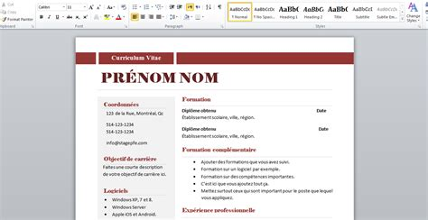 Comment Créer Un Cv by Resume Format Model Cv 2015