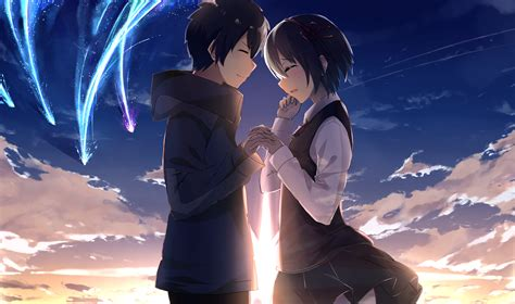 couple wallpaper with name wallpaper kimi no na wa your name mitsuha x taki couple