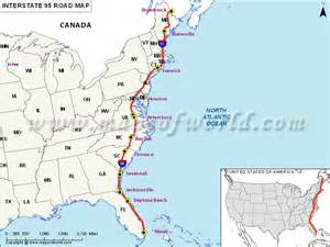us map of interstate 95 pin usa northeast trip on