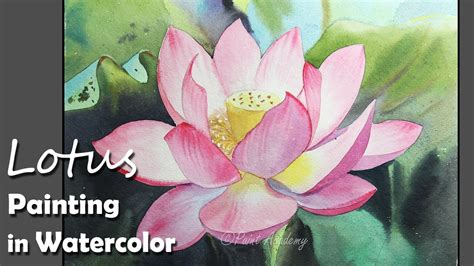watercolor lotus tutorial how to paint a lotus flower in watercolor youtube