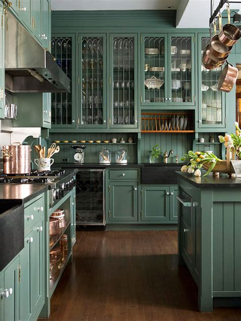 green kitchen cabinet hunter green cabinets country kitchen bhg