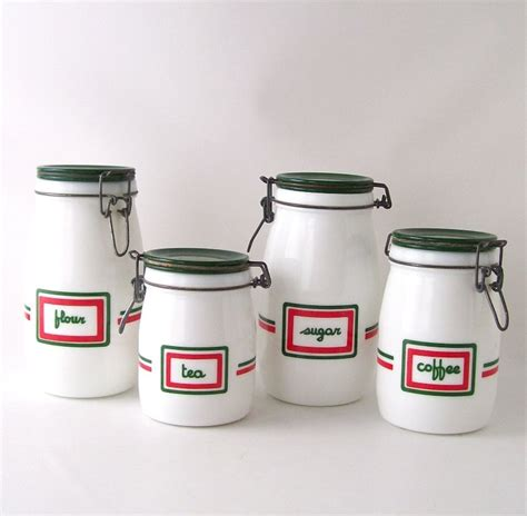 vintage kitchen canister set milk glass milkglass coffee tea sugar fl