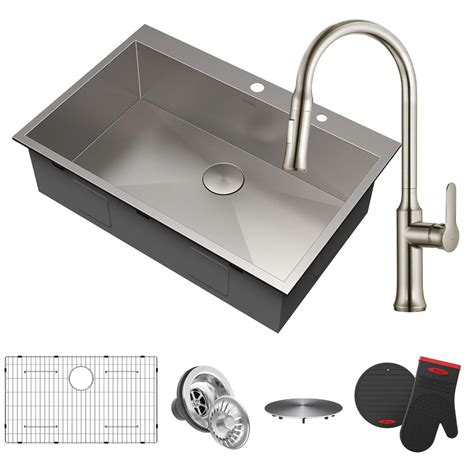 kraus sink kraus pax all in one drop in stainless steel 33 in 2 single bowl kitchen sink with pull