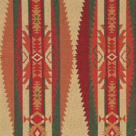 rustic upholstery fabric red green biege and orange southwest style upholstery
