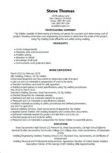 Welding Resume by Professional Tig Welder Templates To Showcase Your Talent Myperfectresume