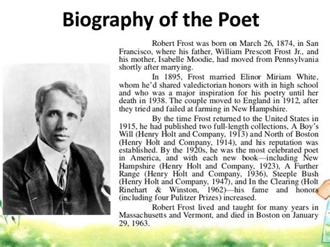 biography robert frost intrinsic elements analysis diction and imagery of