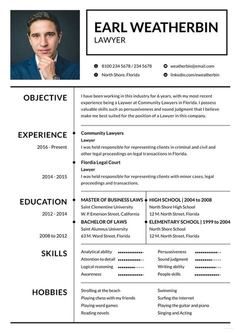 Lawyer Resume by Lawyer Resume Template 6 Free Sles Exles Format
