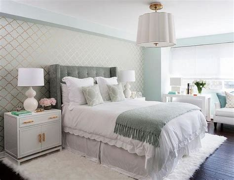 seafoam green and gray bedroom master bedroom accent wall clad in seafoam and gold