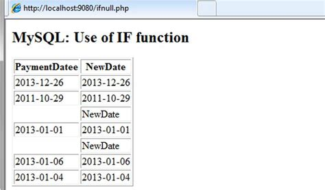 date format in mysql returns use mysql if ifnull and coalesce function in php
