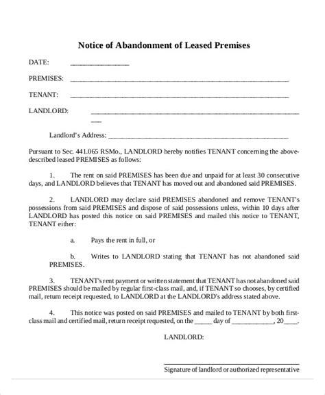 Lease Abandonment Letter 10 abandonment notice templates free sle exle