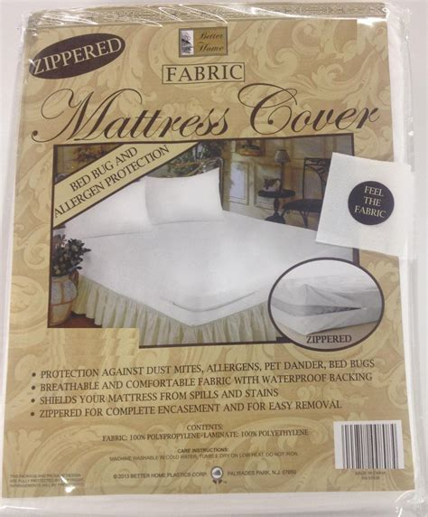 zippered fabric mattress cover protects  bed bugs full size ebay