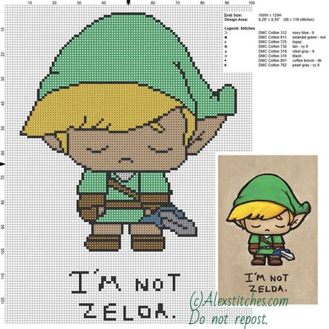 zelda free pattern i m not zelda the legend of zelda free cross stitch