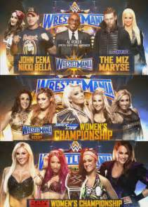 Wwe Wrestlemania 33 Kickoff 2017 2 Wwe Wrestlemania 33 Predictions Nikki Bella And John Cena Vs Maryse And The Miz Alexa Bliss Vs