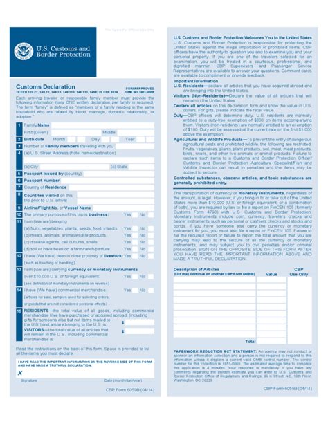 Sample Attorney Resume by Cbp Form 6059b Customs Declaration Free Download